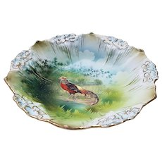 "Wonderful Vintage RS Prussia 1900 ""Pheasant"" 6-1/2"" Scenic Icicle Mold 3-Footed Bowl"