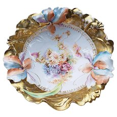 """Fabulous RS Prussia 1900's """"Roses & Daisies"""" 10-1/2"""" Blown Out Lily Mold Floral Bowl"""