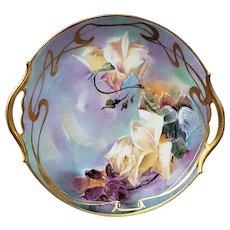 "Exception Vintage T & V Limoges France & Pickard Studio of Chicago 1900 Hand Painted ""Soft Yellow Roses"" 10-1/2"" Floral Plate by ""F. Loba"""