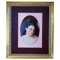 "Outstanding 1900's Hand Painted ""Madame de Récamier"" 17-3/4"" x 14-3/4"" Portrait Plaque by Listed Artist, ""Willene Hatfield"""
