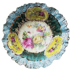 """Exceptional RS Prussia [OS] 1900""""s """"Pink & Yellow Roses"""" 10"""" Floral Bowl"""