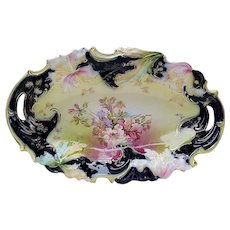 "Extraordinary Vintage RS Prussia ""Lavender, Pink, & White Lilies"" Cobalt Blue 12-1/2"" Floral Bun Bowl With Blown Out Lilies"