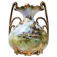 "Fabulous Vintage RS Prussia 1900 ""Farm Scene"" Muscle Vase with Heavy Gold Leafing"