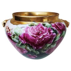 "Spectacular Vienna Austria 1900's Hand Painted ""Deep Red & Pink Roses"" Lion Handles Floral Jardiniere"