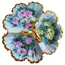 "Divine Bavaria 1900's Hand Painted ""Pink & Yellow Roses"" 3-Sectional Rococo Style Floral Tray by Artist, ""Clarisse"""
