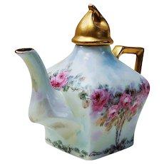 "Gorgeous Vintage Limoges France 1900's Hand Painted ""Petite Pink Roses"" Floral Tea Pot"