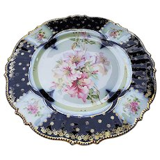 "Outstanding RS Prussia Vintage 1900 ""Iris"" With ""Roses"" & Wild Flowers"" In Relief 9"" Cobalt Blue Floral Plate"