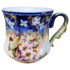 "Beautiful Vintage RS Prussia 1900 ""Pansy"" Cobalt Blue Shaving Mug"