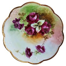 "Striking Vintage Limoges France 1900's Hand Painted ""Deep Red Roses"" 12-7/8"" Floral Charger by Artist, ""M. Callahan"""