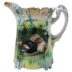 "Gorgeous RS Prussia Vintage 1900 ""Barnyard Turkeys"" 3-1/2"" Icicle Mold Cream Pitcher"