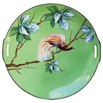 "Beautiful RS Germany Tillowitz 1910 ""Bird of Paradise"" 9-3/4"" Scenic Plate"