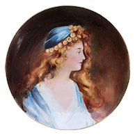 """Gorgeous Limoges 1904 Hand Painted """"Lady in A Blue Dress"""" 11-1/4"""" Portrait Charger by Artist, """"Bart Cole"""""""
