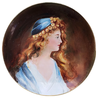 "Gorgeous Limoges 1904 Hand Painted ""Lady in A Blue Dress"" 11-1/4"" Portrait Charger by Artist, ""Bart Cole"""