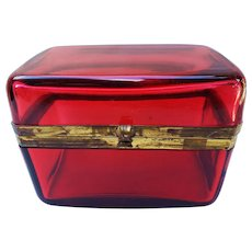 """Stunning Antique French 1900 Ruby Red Glass 5-1/2"""" Long Casket with Dore Bronze Mounts"""