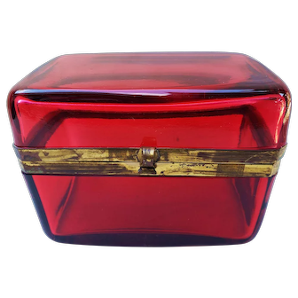 "Stunning Antique French 1900 Ruby Red Glass 5-1/2"" Long Casket with Dore Bronze Mounts"