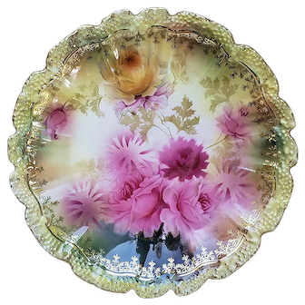 "Stunning RS Prussia 1900 Vibrant ""Deep Pink & Yellow Roses"" 8"" Stipple Mold Floral Plate"