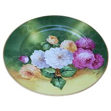 "Outstanding Vintage Jean Pouyat Limoges France 1900 Vibrant ""Pink, White, & Yellow Roses"" 9-3/4"" Floral Plate by Listed Artist, ""Duval"""