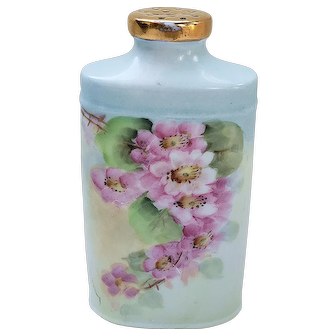 "Beautiful Vintage Bavaria 1900 Hand Painted ""Wild Pink Roses"" Talcum Powder Shaker by Artist, ""A.E. Pierce"""
