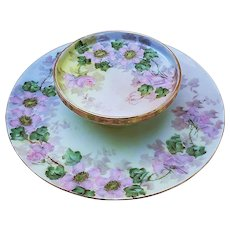 """Charming Vintage Germany 1900's Hand Painted """"Wild Pink Roses"""" 9"""" 2-Tier Floral Cheese Server by Artist, """"Costmann"""""""