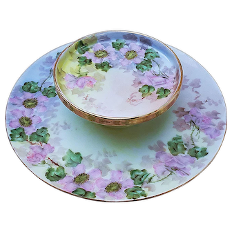 "Charming Vintage Germany 1900's Hand Painted ""Wild Pink Roses"" 9"" 2-Tier Floral Cheese Server by Artist, ""Costmann"""