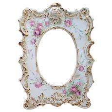 """Spectacular Vintage Tresseman & Vogt Limoges France 1900 Hand Painted """"Red & Pink Roses"""" 9"""" x 6-1/2"""" Fancy Art Nouveau Floral Picture Frame"""