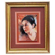 "Beautiful Bavaria 1900's Hand Painted ""Black Hair Raven Beauty"" 13-1/2"" x 11-1/2"" Portrait Plaque by the Artist, ""Willene Hatfield"""