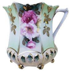 "Wonderful RS Prussia Vintage 1900 ""Red & Pink Poppy"" Ball Feet Mold Floral Shaving Mug"
