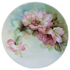 "Ravishing Bavaria Vintage 1900's Hand Painted ""Peach Roses"" 9-3/8"" Floral Plate, Artist Signed"