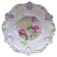 """Exceptional Vintage RS Prussia 1900 """"Roses & Snowballs"""" 11"""" Satin Finish Floral Bowl"""