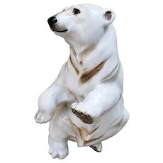 "J.R. Germany Hutschenreuther Bavaria Vintage 1940's ""Polar Bear"" 7-1/2"" Figurine by Listed Artist, ""Hans Achtziger"""