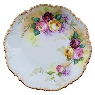 """Attractive Limoges Coronet France 1900 Hand Painted """"Red, Pink, & Yellow Roses"""" Fancy Scallop Floral Plate by Listed Artist, """"Rancon"""""""