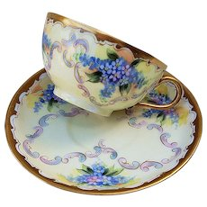 "Fabulous Limoges France & Pickard Studio of Chicago 1905 Hand Painted ""Forget Me Not"" Floral Cup & Saucer by Artist, ""Walter Lemke"""