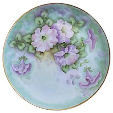 """Soft & Beautiful Bavaria 1900's Hand Painted """"Light Pink & Light Lavender Pansies"""" 10-3/8"""" Floral Plate by Artist, """"Melba Turl"""""""