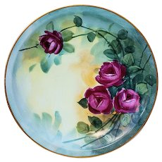 """Striking Vintage Bavaria 1896 Hand Painted """"Deep Red Roses"""" 8-1/4"""" Floral Plate by Listed Artist, """"Mrs. F.L. Grunewald"""""""