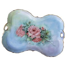 "Captivating Bavaria 1900's Hand Painted ""Red-Orange Roses"" 10-1/2"" Fancy Scallop Floral Tray by Artist, ""Rose Rudikoke"""