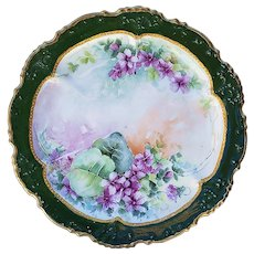 """Simply Beautiful Limoges France 1900's Hand Painted """"Violets"""" Scallop Floral Plate"""