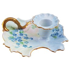"""Exquisite Bavaria 1900's Hand Painted """"Forget Me Not"""" Fancy Scallop Chamberstick Holder"""