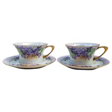 """Beautiful JR Hutschenreuther Selb Bavaria 1900's Hand Painted """"Violets"""" Pair of Floral Cups & Saucers"""