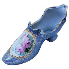 """Beautiful RS Prussia [OS] Germany 1900 Hand Painted """"Pink Roses"""" Floral Shoe"""