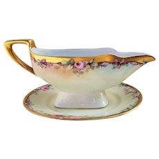 "Beautiful JR Hutschenreuther Selb Bavaria 1900's Hand Painted ""Pink Roses"" Floral Gravy Boat & Under Plate by Artist, ""Minnie Perl"""