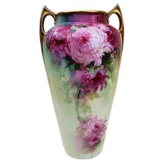 "Fabulous Bavaria Vintage 1900's Hand Painted Vibrant ""Red & Pink Roses"" 12"" Floral Vase by Listed Artist, ""F.R. Cross"""