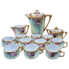 "Spectacular 51 Piece Vintage Bavaria 1900 Hand Painted ""Red & Pink Roses"" Floral Tea Set by Artist, ""Minnie Perl"""