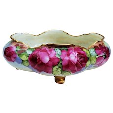 """Beautiful Vienna Austria 1900 Hand Painted Vibrant """"Deep Red Roses"""" 4-Footed 10"""" Floral Bowl by Listed Chicago Professional Decorator, """"Edward Heyn"""""""
