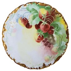 "Marvelous Vintage T & V Limoges France Hand Painted ""Strawberry"" 8"" Fruit Decor Plate by the Artist, ""Sadie"""