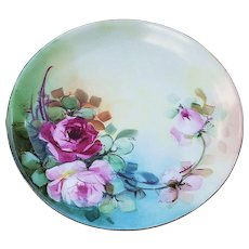 "Beautiful Vintage JR Bavaria 1900's Hand Painted ""Red & Pink Roses"" Floral Plate by Chicago Decorator ""Minnie Perl"""