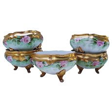 """Beautiful Vintage Chicago Decorated 1900 Hand Painted Set of 5 """"Pink Roses"""" Footed Salt Dips"""