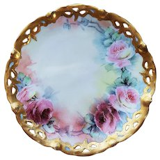 "Charming MZ Austria 1900's Hand Painted ""Red & Pink Roses"" Reticulated Floral Plate"