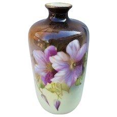 """Gorgeous Vintage RS Prussia 1900 Vibrant """"Iris"""" 5-3/4"""" Floral Vase"""