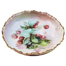 """Exceptional Large Vintage Syracuse China 1920's Hand Painted """"Strawberry"""" 9-3/4""""  3-Footed Fruit Bowl"""