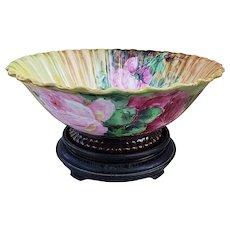 """Charming Vintage Theo Haviland Limoges France 1900's Hand Painted """"Red & Pink Roses"""" Pedestal Crimp Decor Fruit Bowl by Artist, """"E.D. Bardsley"""""""